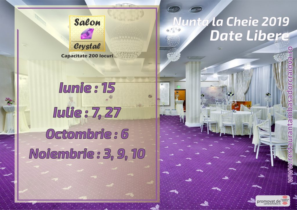 Date Libere 2019 | Restaurant Nunta Craiova | Restaurant Ambasador Craiova 2019 | Salon Crystal Restaurant Ambasador Craiova | Laurentiu Nica - Wedding Photographer