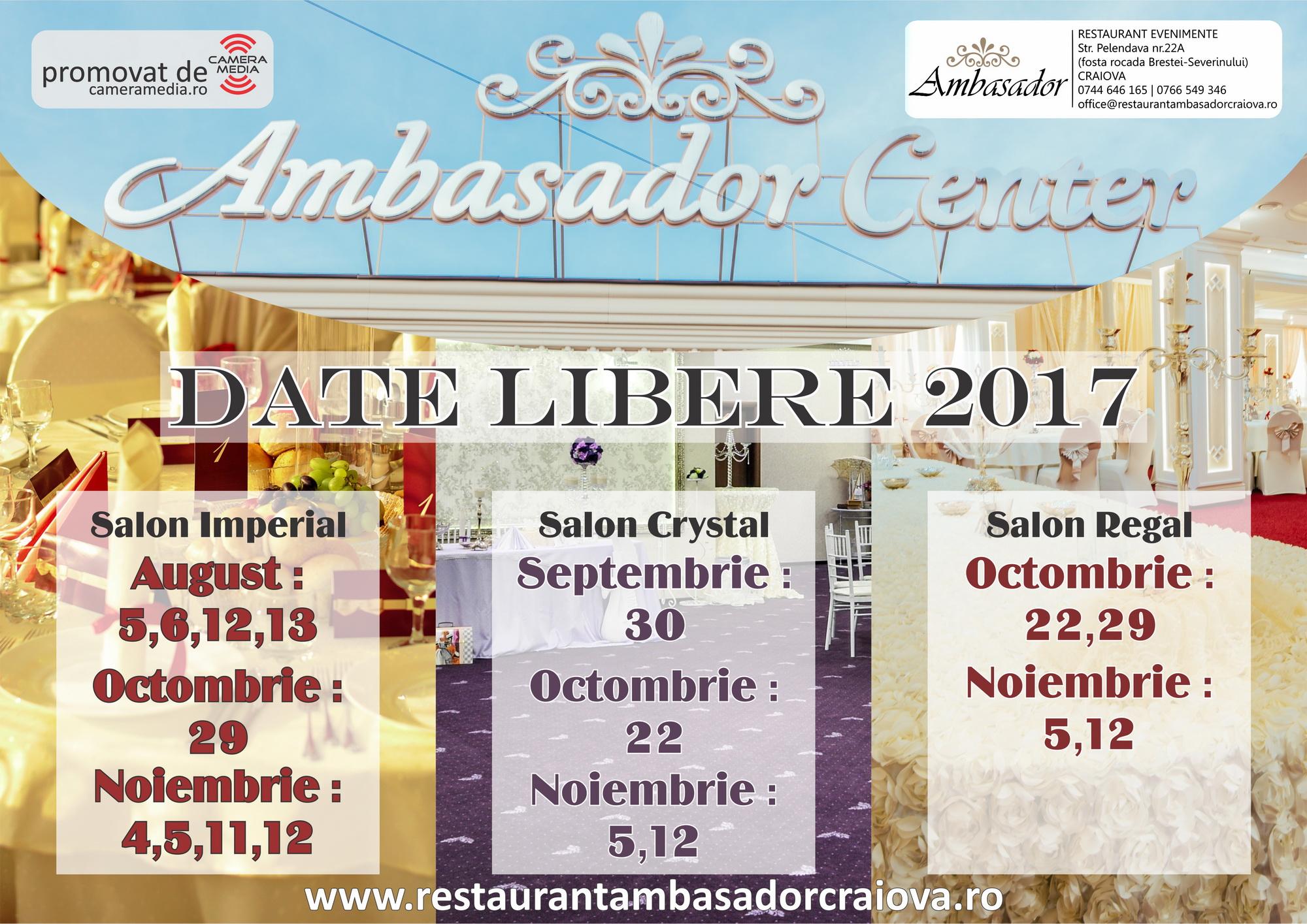 Oferta Date Libere Restaurant Craiova 2017 l Salon REGAL , CRYSTAL, IMPERIAL l Restaurant Nunta Craiova l Restaurant Ambasador Craiova
